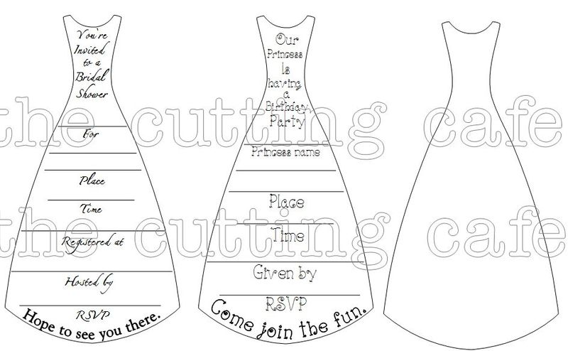 The Cutting Cafe DRESS SHAPED CARD TEMPLATE CUTTING FILE AND