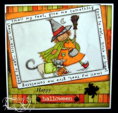 Trick or treat smell my feet Tracy Gough - halloween card borders