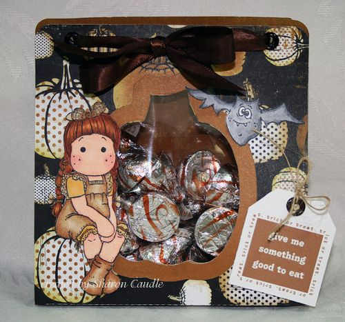 Trick or treat Sharon Caudle - Pumpkin goodie bag template