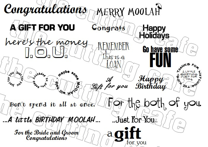 Gift card and money holder sentiments