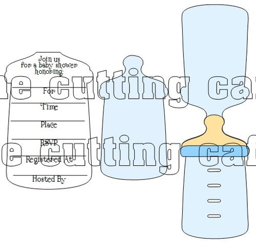 the cutting cafe baby bottle shaped card 2 invite set template