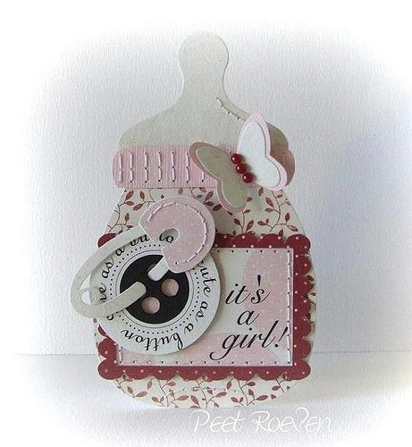 Its a girl Peet Roeven - Bottle shaped card 1 and all about babies printable stamp set