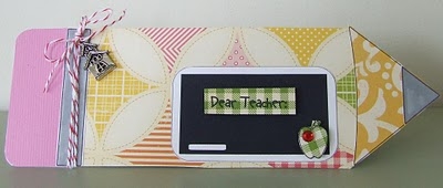 Dear teacher by Amy Duff - Pencil shaped card and all about school