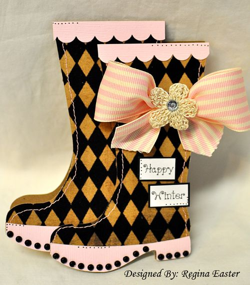 The Cutting Cafe Rain Boots Shaped Card Template Cutting File Set