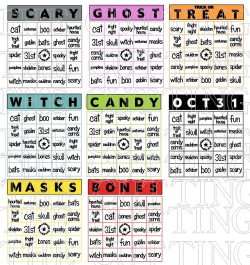 The Cutting Cafe': HALLOWEEN BINGO CARD SET.....PRINTABLE STAMP SET