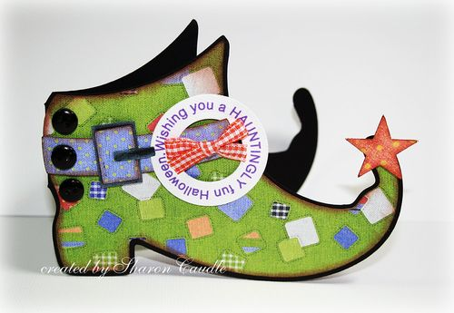 Witch boot shaped card