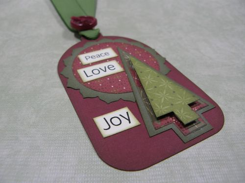 Peace Love Joy Tree Tag  Cecilia Stephens - Chrsitmas Tree goodie bag holder and Christmas mini words