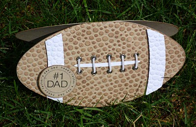 Happy Fathers Day   Joanna....new girl  Football shaped card