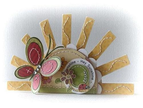 Hey Sunshine Peet Roeven - Social Butterfly and sun shaped card
