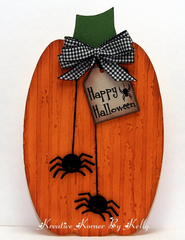 Add  Happy Halloween  Kelly - Pumpkin shaped card and Holiday tag set
