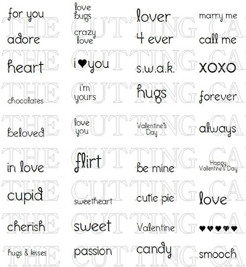 VALENTINES DAY MINI WORDS