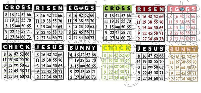 Easter bingo cards