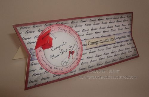 Congratulations  Jeri Moody - Time 2 background and Happy Graduation huge circle word and Ribbon sentiment banners and Shaped card set