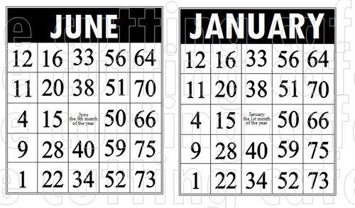 Bingo month cards