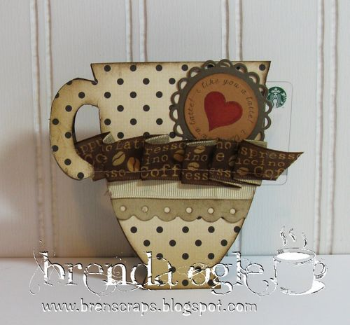 BRENDA OGLE COFFEE CUP SHAPED CARD AND GOT COFFEE