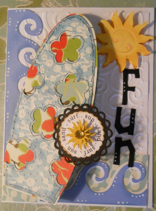 SUN SAND SURF CAROLE Lowe Beath - Surf board shaped card