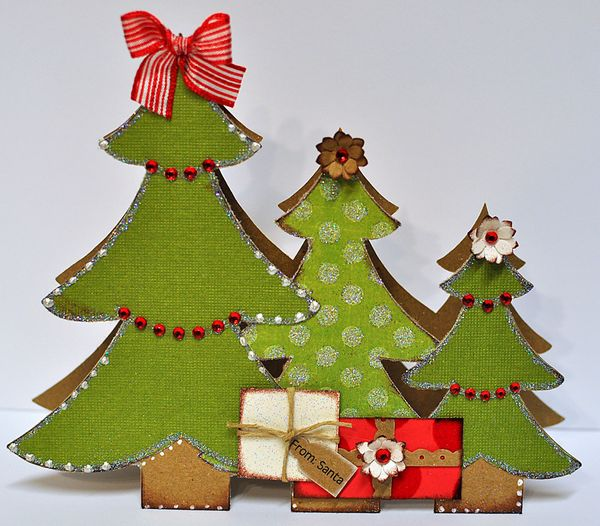 Christmas Tree Trio: The Cutting Cafe': CHRISTMAS TREE TRIO SHAPED CARD