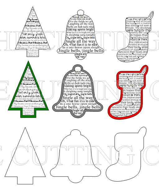 The Cutting Cafe Christmas Sentiment Shapes Printable