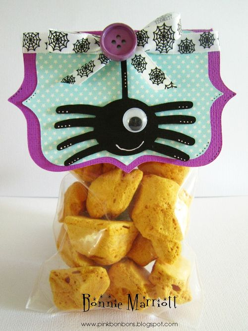 Spider Treat Bag  Bonnie Marriott - Frame shaped card and Halloween and Fall milk carton