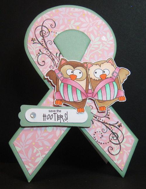 Save the HOOTERS!  Paula  cusgtoemr  ribbon shaped card