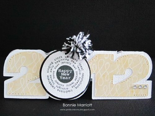 Happy New Year  Bonnie Marriott - 2012 shaped card and Its new year time