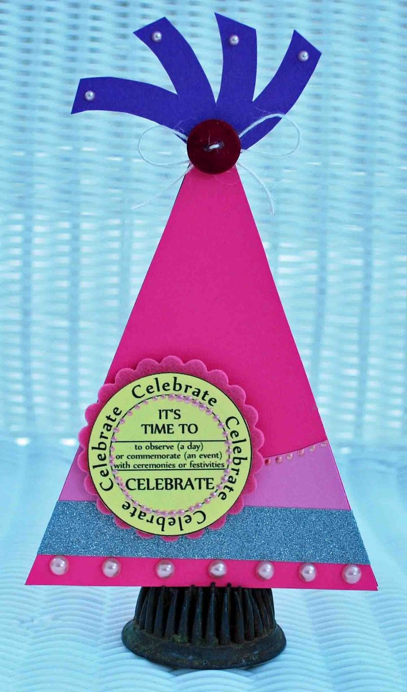 Celebrate - Amber Goble - Party hat shaped card set and Birthday Tags