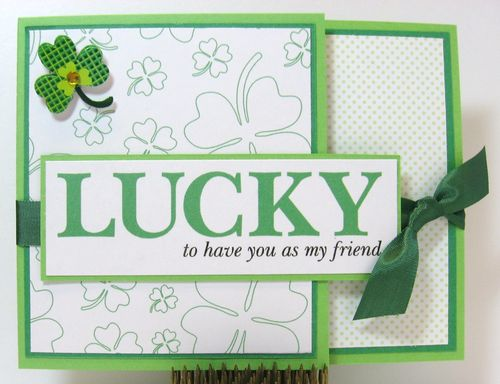 LUCKY  Paula Riley - lucky me and clover background and 4 leaf clover shaped card