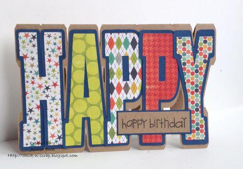 Happy Birthday  Jessica Esch - Happy shaped card