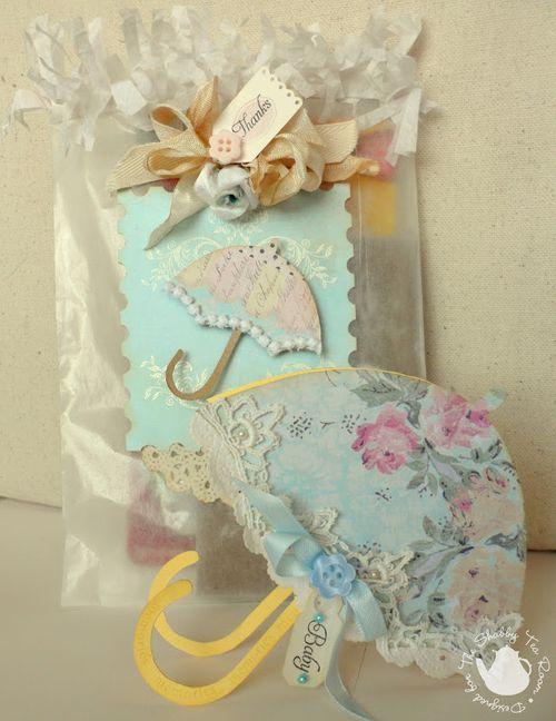 Baby Invite set  Rebekkah - Umbrella shaped card 1