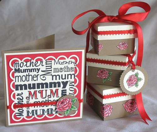 Mum set  Kerys Sharrock - Nesting boxes and Beautiful Rose and Mum word block