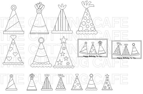 The Cutting Cafe Fun With Party Hats  Printable Stamp Set