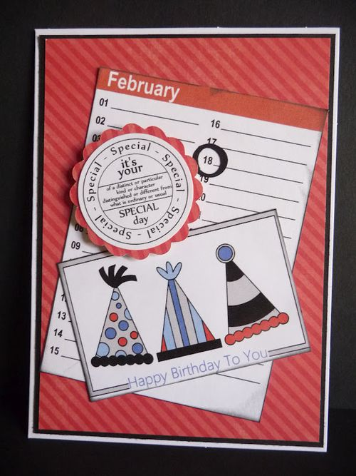 February - Jeri Thomas - Fun with party hats, Mini colored calendar sheets and birthday tags