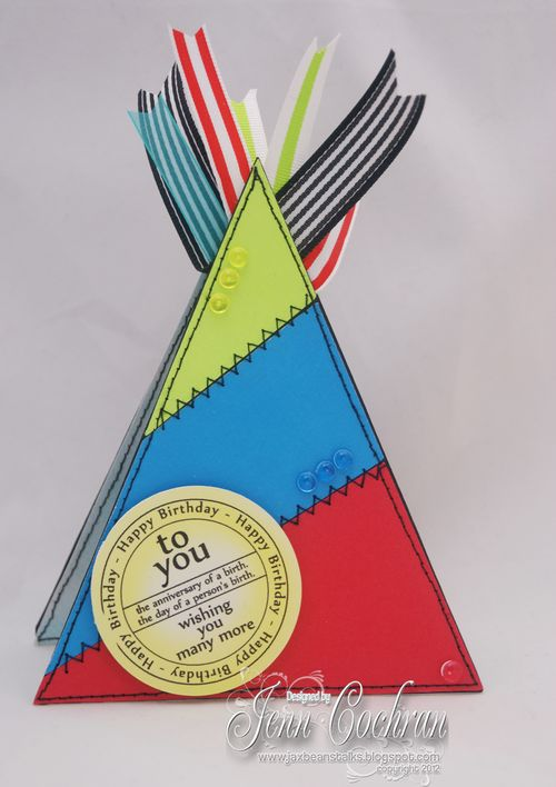 Happy Birthday - Jenn Cochran - Party Hat shaped card and Birthday tags