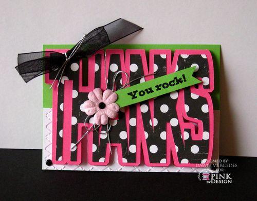 Thanks  Dawn Mercedes - Thanks shaped card