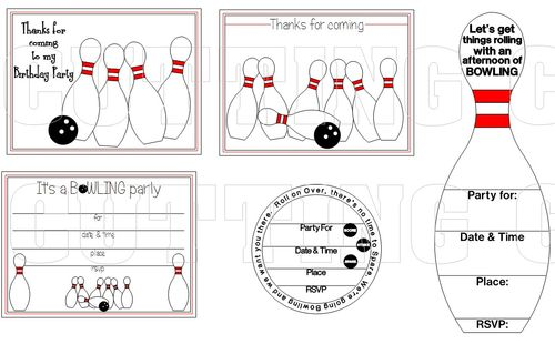 The Cutting Cafe BOWLING PIN SHAPED CARD – Bowling Invitation Template