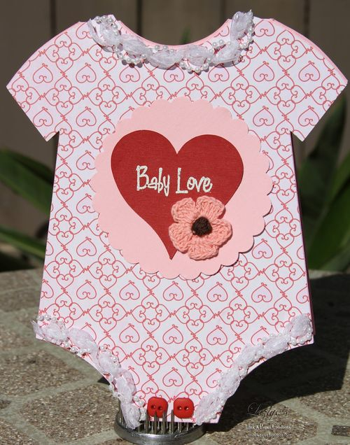 Baby love  Lezlye Lauterbach  Onesie shaped card
