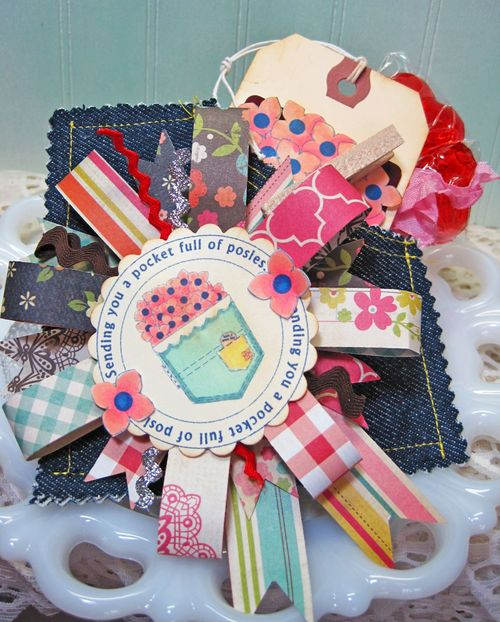Sending you a pocket full of posies  Lori Hairston - Sending you a pocket full of wishes and pocket shaped card