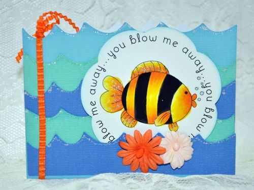 You blow me away  Leslie Foley - Under the Sea and Wave shaped card