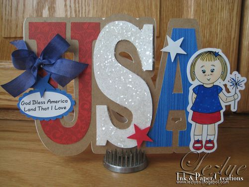 God Bless America  Lezlye Lauterbach - Mikala Ann Ready for the 4th and Usa Word shaped card