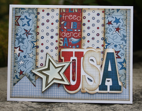 USA Carolyn Wolff - USA WORD SHAPED CARD