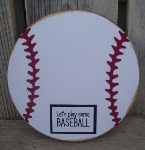 Let's play some BASEBALL  Debbie Fisher - Baseball and bat shaped card