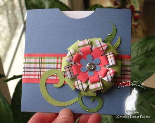 Pocket card  Dawn Mercedes - Fun with pockets and Loopy Loopy bow - flower