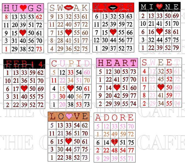 The Cutting Cafe VALENTINES DAY BINGOPRINTABLE STAMP SET – Valentines Day Bingo Cards