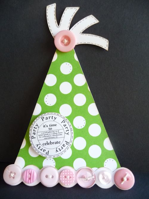 Party  Jeri Thomas - Party hat shaped card and Birthday Tags