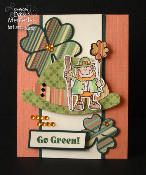 GO GREEN  Dawn Mercedes - Cap shaped card, 4 leaf clover shaped card