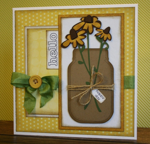 HELLO  Carolyn Wolff - Jar shaped card and everyday mini words