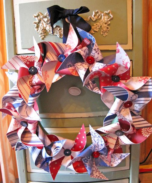 Pinwheel wreath - Lori Hairston - Pinwheel sentiment set