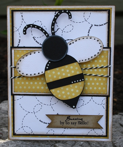 Buzzing by to say hello  Carolyn Wolff - Beehive shaped card