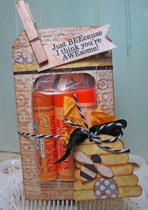 Just beecause gift set   Lori Hairstion - Beehive shaped card