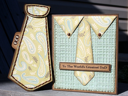 To The World's Greatest DaD  Carolyn Wolff - shirt and tie shaped card set